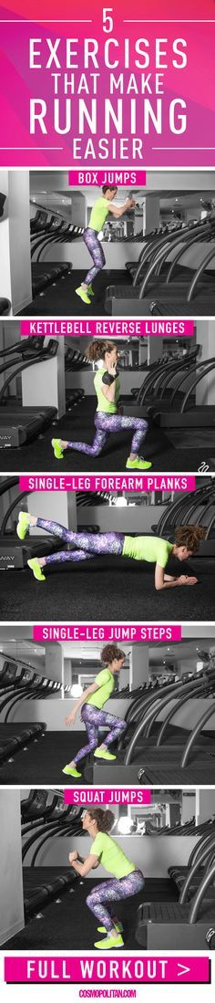 5 MOVES TO MAKE RUNNING EASIER: Your legs and butt will get sOoOo strong with these moves! if you want to be a better runner (i.e., make every stride feel less laborious), these moves can help by improving your strength, stability, and power, says Debora Warner, founder of Mile High Run Club, a fitness studio dedicated to running in New York City. Click through for the full workout info, running tips, and more fitness ideas! Plus, you'll find instructional gifs that teach you how to do each