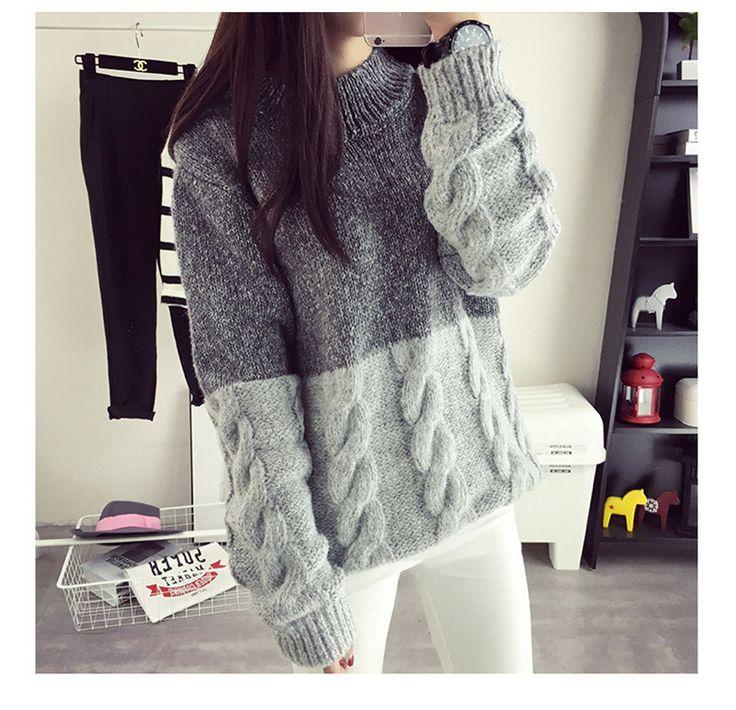 Women New Korean Twist knitting Sweater Contrast Color Design Crop Sweater Pullover Spring Autumn Winter Jumper свитерсвитер женскийкофтаводолазкаПуловеркофта женская купить на AliExpress