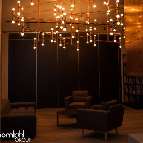 copper pipes chandelier, copper interior, copper decor