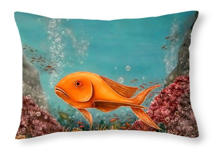 Throw Pillow,  home,accessories,sofa,couch,decor,cool,beautiful,fancy,unique,trendy,artistic,awesome,fahionable,unusual,gifts,presents,for,sale,design,ideas,blue,colorful,fish,underwater,ocean