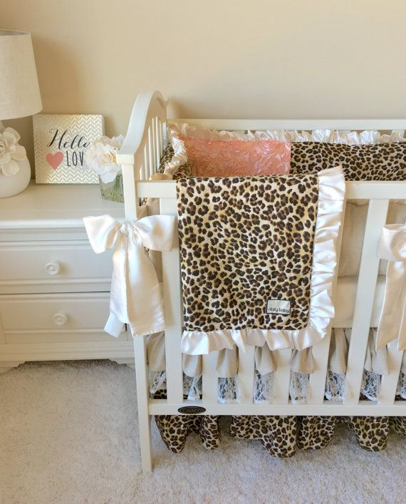 Leopard Baby Blanket Baby Girl Blanket Ivory Crib by ShopRitzyBaby