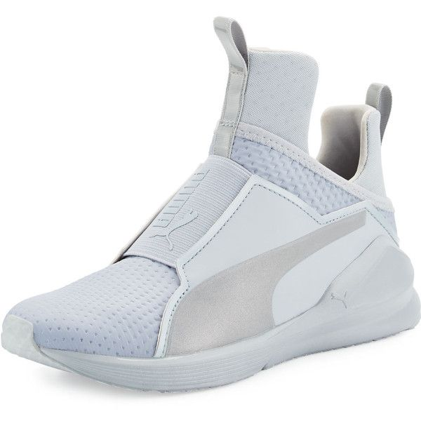 Fenty Puma By Rihanna Fierce Quilted High-Top Sneaker ($100) ❤ liked on Polyvore featuring shoes, sneakers, shoes sneakers, silver, slip on shoes, high top sneakers, slip on sneakers, quilted slip on sneakers and slip-on sneakers