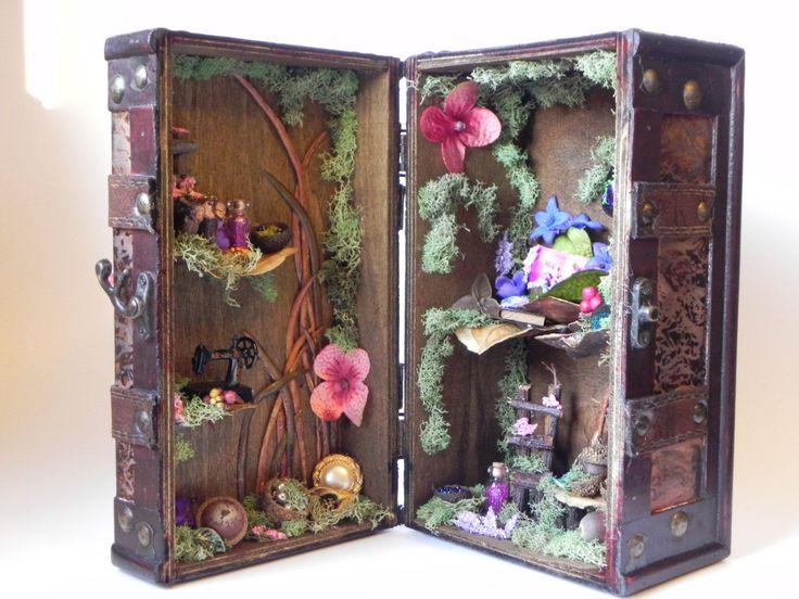 Box fairy house. Fairy garden, fairy dollhouse, fairy furniture, miniature furniture, fae display, charming gift. by TinkerWhims on Etsy #miniaturefairygardens