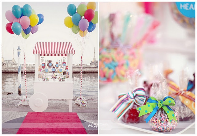 sweets cart with ballons