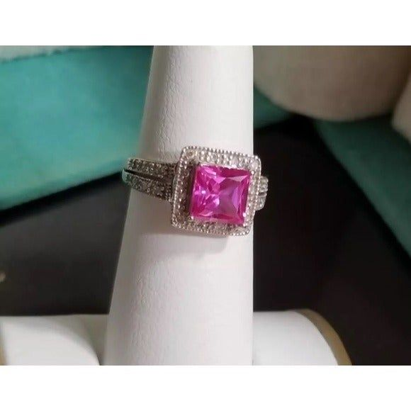 10k White Gold 2ct Pink Sapphire And Diamond Halo Cocktail Ring Can Easily Be Resized Up Or Down By And Local Jeweler Kay Jewelers Rings Pink Sapphire Jewels