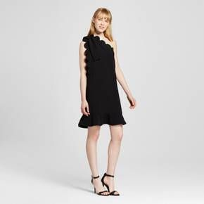 Women's Black One Shoulder Dress with Bow and Scallop Trim - Victoria Beckham for Target : Target