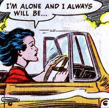 """Comic girls say.. """"I'm alone.. and I always will be. """"   #comic #popart #vintage"""