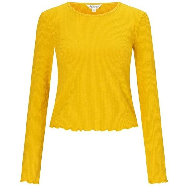 Miss Selfridge Ochre long sleeves lettuce top (950 RUB) ❤ liked on Polyvore featuring tops, yellow long sleeve top, miss selfridge, sleeve top, yellow top and rib top