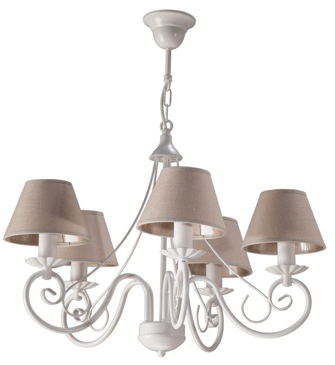 Lampa wisząca DALMACY 5 w stylu romantycznym dostępna na naszej stronie www.przystojnelampy.pl  #biała #lampa #wisząca #lamp #lamps #lampy #oświetlenie #white #abażur #styl romantyczny #romantic #romantyczny