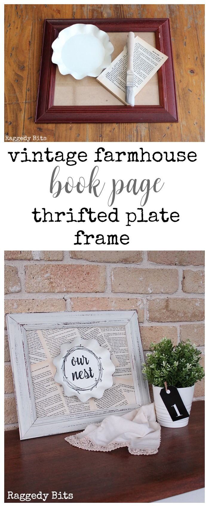 Vintage Farmhouse Book Page Thrifted Plate Frame   Crafts to Make ...