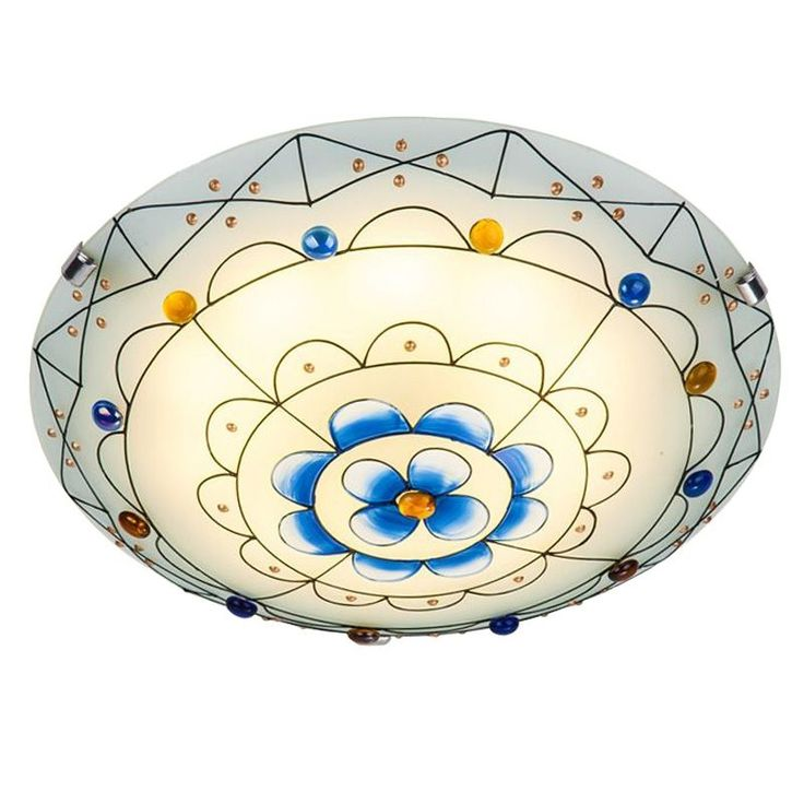 78.33$  Buy here - http://aiqht.worlditems.win/all/product.php?id=32655010600 - Pastoral Stained Glass Bedroom Ceiling Lamp Mediterranean Kid's Room Ceiling Lamps Baby Room Ceiling Light