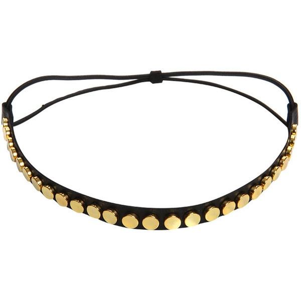 Kali Gold Studded Elasticated Headband (370 THB) found on Polyvore