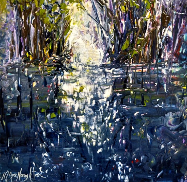 Way to the Portage 12x12 inches ~ Acrylic on canvas painting by Hanna MacNaughtan