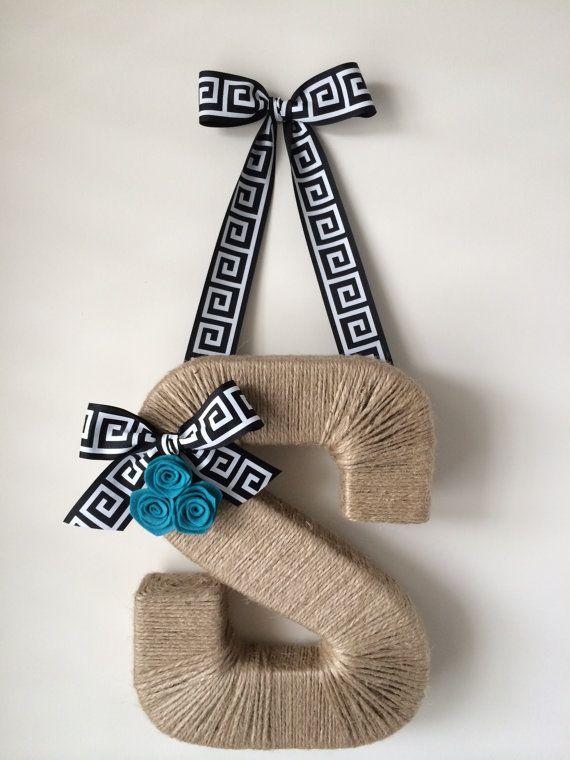 Th Original Twine Monogam Wreath.  Greek Key Ribbon.  Geometric Ribbon. Door Hanger.  Jute Letter. Twine Letter.  Letter Wreath. Summer Door