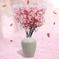1 Ramo Poliéster Sakura Flor de Mesa Flores artificiais 110