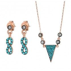 turquoise sieraden setje oorbellen met ketting