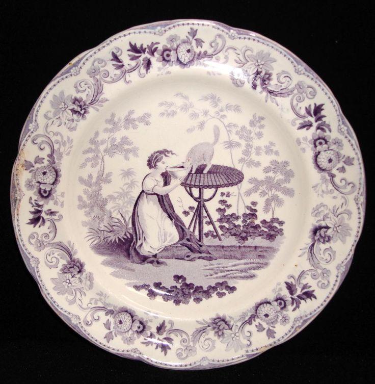 lavender purple toile transferware - photo #17