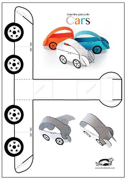 Glue-lee printable CARS | krokotak