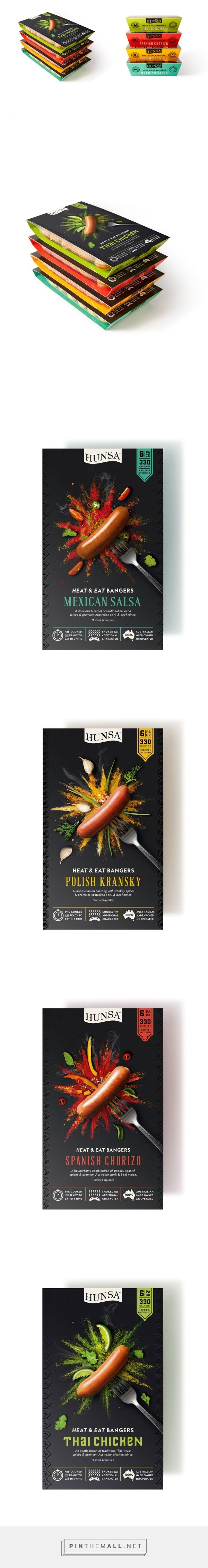 Hunsa Heat & Eat Bangers packaging designed by Dessein - http://www.packagingoftheworld.com/2016/01/hunsa-heat-eat-bangers.html