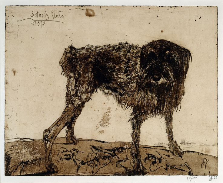 Horst Janssen, Dog (Bettiner's Kluko, 1973)