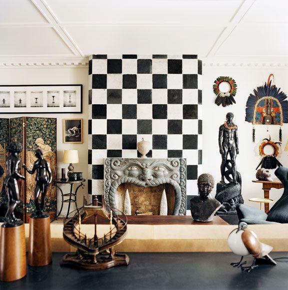 Le Cabinet De Curiosit Pierre Passebon Eclectic StyleGallery WallSitting RoomsHoundstoothDecorationArticlesSalonsFireplacesSculptures