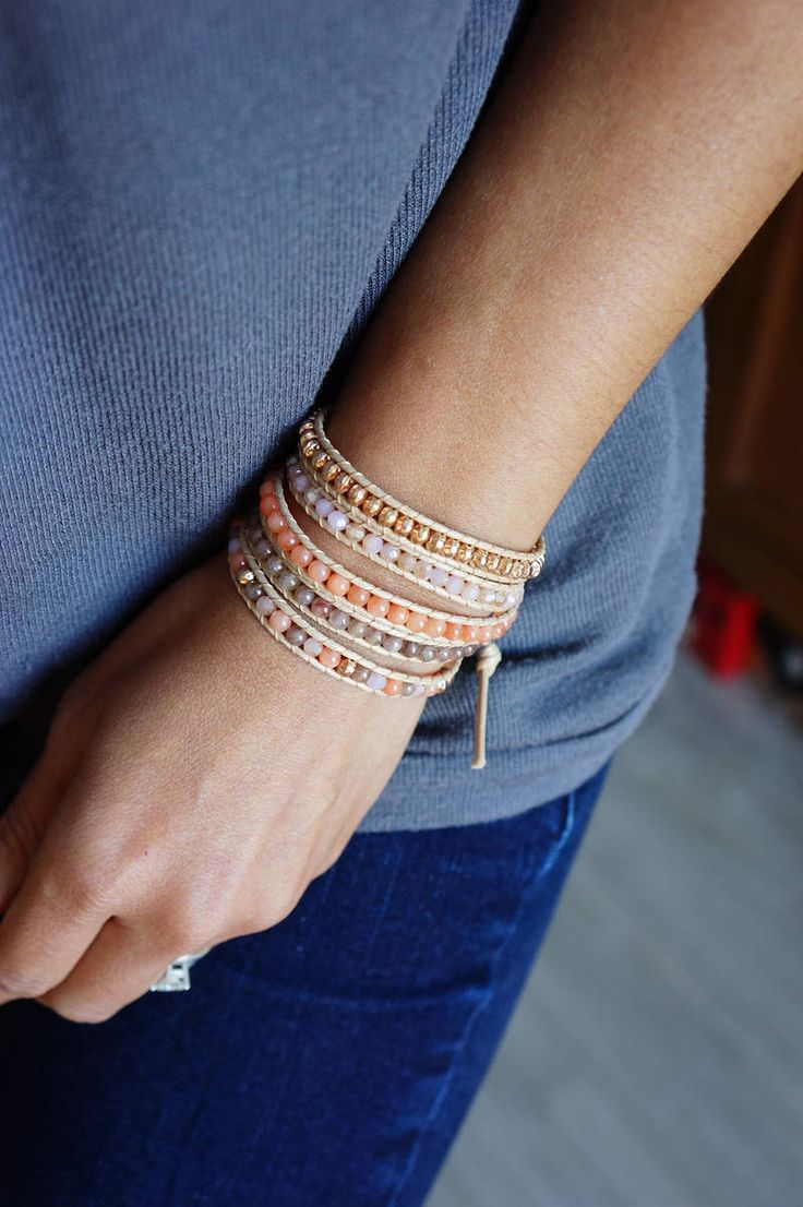 Pink Salmon Five Times Wrap Bracelet with Pink Gold Bead