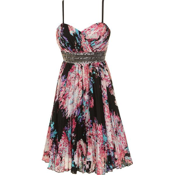 Dorothy Perkins Printed prom dress (£31) ❤ liked on Polyvore featuring dresses, multi color, party dresses, black dress, black cocktail party dress, multicolor prom dress and prom dresses