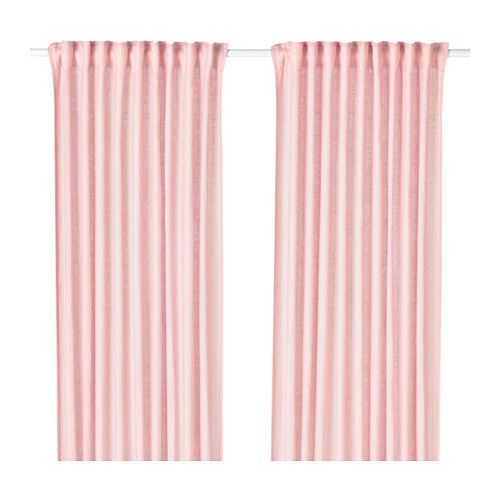 IKEA - LEJONGAP, Curtains, 1 pair, , The curtains lower the general light level and provide privacy by preventing people outside from seeing directly into the room.The natural material ramie gives the curtains a slightly irregular texture which filters light softly.The curtains can be used on a curtain rod or a curtain track.The heading tape makes it easy for you to create pleats using RIKTIG curtain hooks.You can hang the curtains on a curtain rod through the hidden tabs or with rings and…
