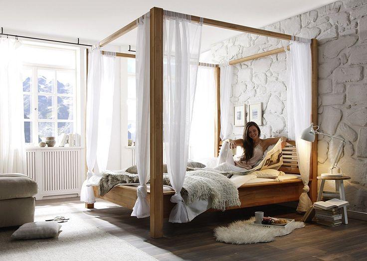 anja holzbett massivholzbett doppelbett himmelbett massiv. Black Bedroom Furniture Sets. Home Design Ideas
