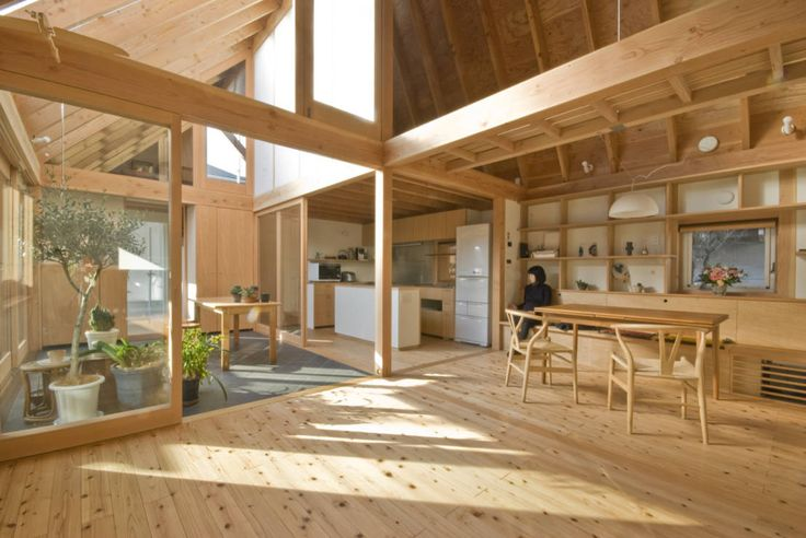 Huge bright rustic wooden modern living space in Japanese home