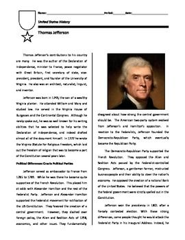 Short biography on Thomas Jefferson, focusing on his role in the creation of the first political parties in the United States, his 1801 Inaugural Address during which he called for Federalists and Republicans to unite, and his crowning achievement, the purchase of the Louisiana Territory in 1803.