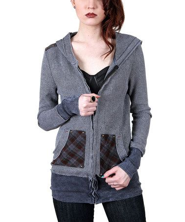 Look what I found on #zulily! Charcoal Plaid Thermal Hoodie - Women #zulilyfinds