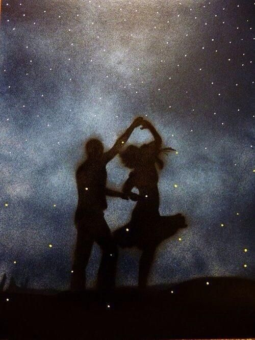 Dancing together under the night sky with the fireflies as our romantic light