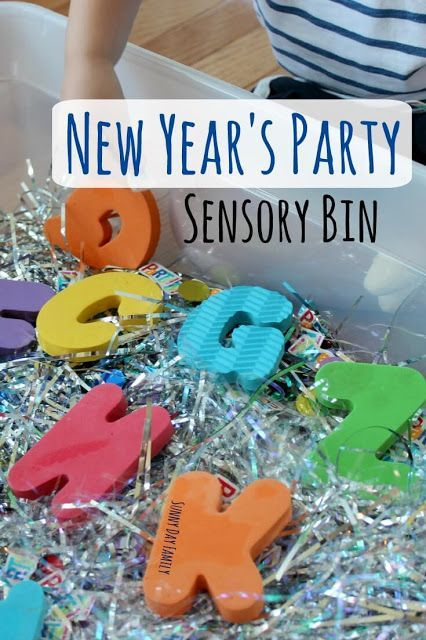 New Year's Party Sensory Bin for kids! A New Year's Eve activity for kids that's easy to set up and lots of fun. Toddlers and preschoolers love it!