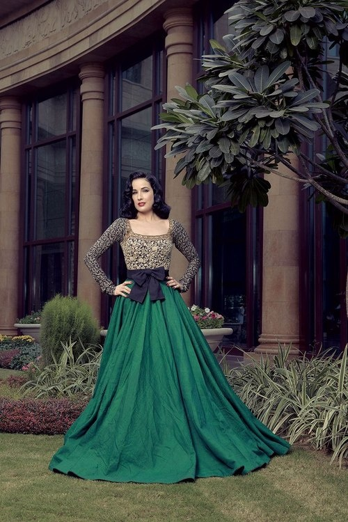 Dita in Emerald Green Skirt and Sparkling Top   Elegant Old Money Editorial