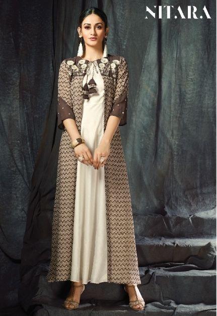 8de6eeb95ab Nitara Anoli Designer Fancy Stylish Printed Georgette Jacket with Silk  Inner Readymade Collection Surat