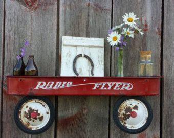 Radio Flyer wagon repurposed into a fun shelf for by WiggeWorkShop