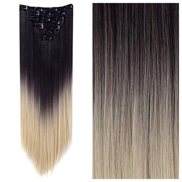 Brown to Bleach Blonde Ombre Hair Extensions -Straight Hair 24″ 165g