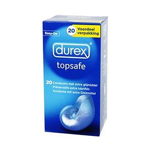 DUREX TOPSAFE EXTRA SEGURO 20 UDS. DUREX TOPSAFE 20 UDS. Los preservativos Durex TopSafe Extra Seguro son ligeramente más gruesos y más lubrificados, por lo que proporcionan una seguridad adicional contra el riesgo de embarazo no deseado y enfermedades de transmisión sexual.     Dermatológicamente testados.     Transparentes, lisos, lubricados, con depósito. Fabricados con látex natural. Forma anatómica. Anchura nominal: 54mm.     Forma Easy-On.