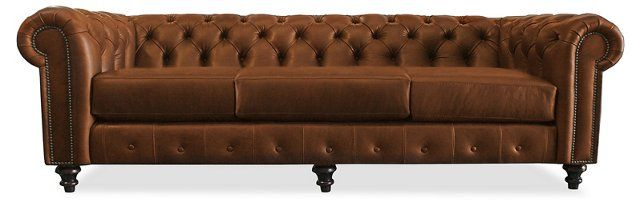 Saretta Tufted Leather Sofa, Caramel