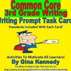 "A must for every 3rd grade classroom, 25 Common Core colorful fun ""Writing Prompt Task Cards"" with creative writing prompts that connnect to the 3r..."