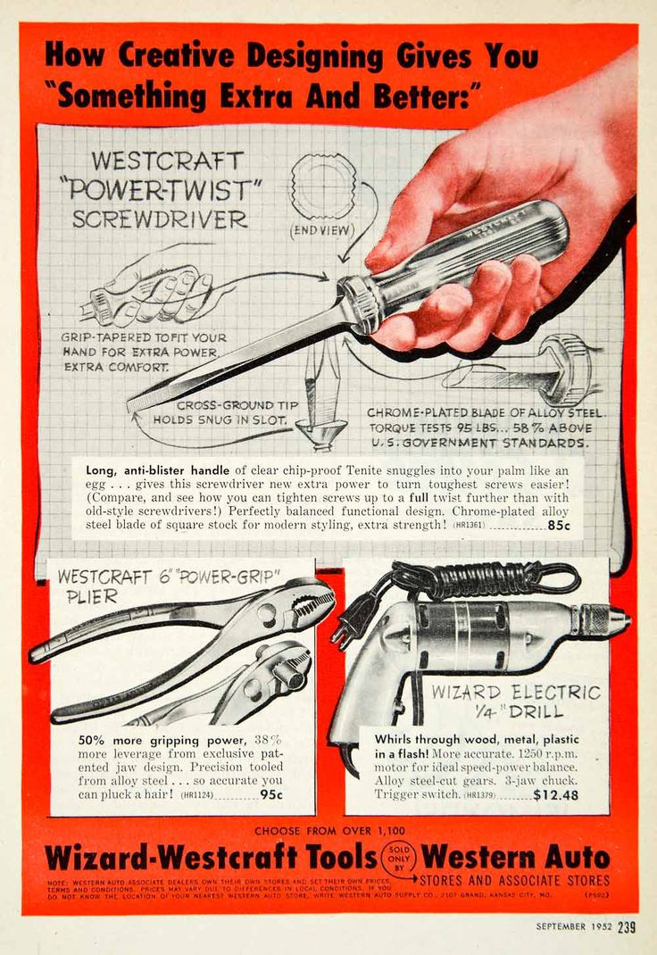 1952 Ad Westcraft Power-Twist Screwdriver Pliers Electric Drill Wizard PSC2
