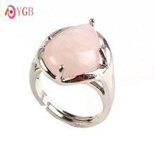 YGB 1 unids hermosa Silver Plated Rose Cuarzo PIEDRA Granos de la forma de Gota de Agua de Piedra Joyería Del Anillo de Dedo…