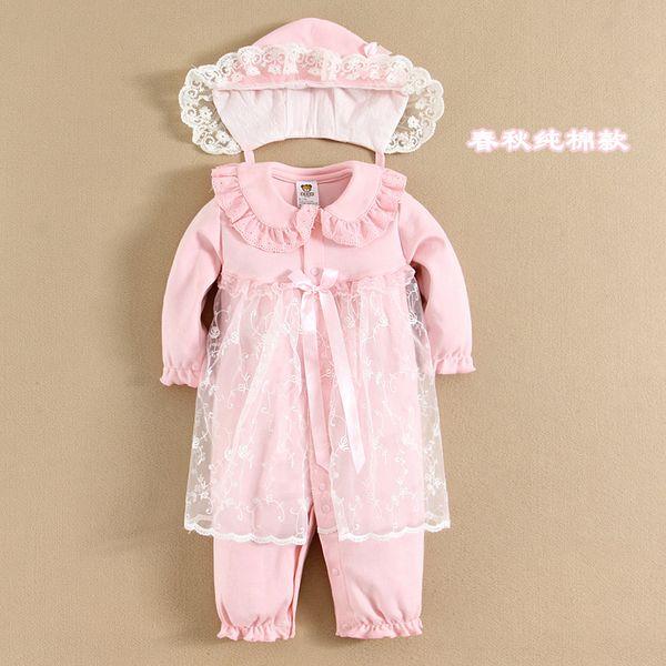 Ползунки, комбинезоны из Китая :: Абэ медведь новорожденного ребенка одежду полная луна сто дней первый день рождения Платья младенца девочек длинный рукав Комбинезоны комбинезон.