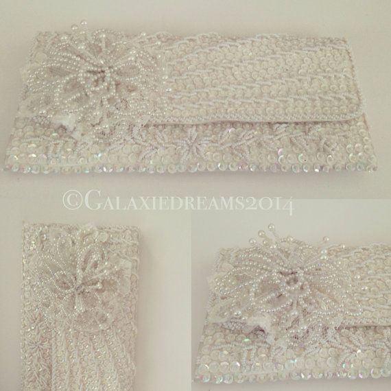 Vintage wedding clutch ivory white Vintage bruiloft clutch