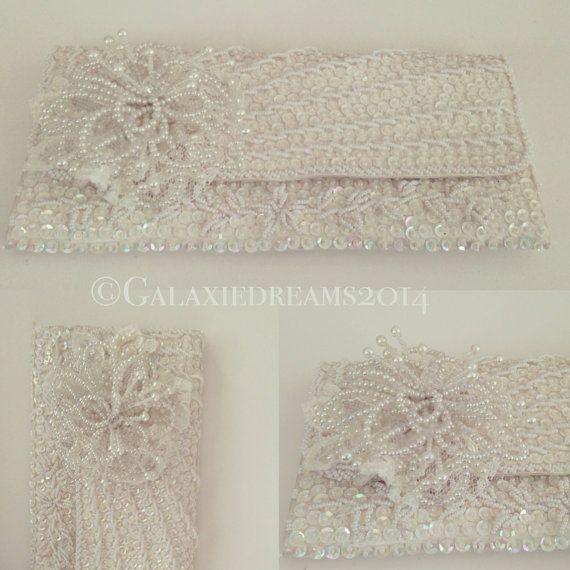 Vintage wedding clutch ivory white Vintage bruiloft clutch