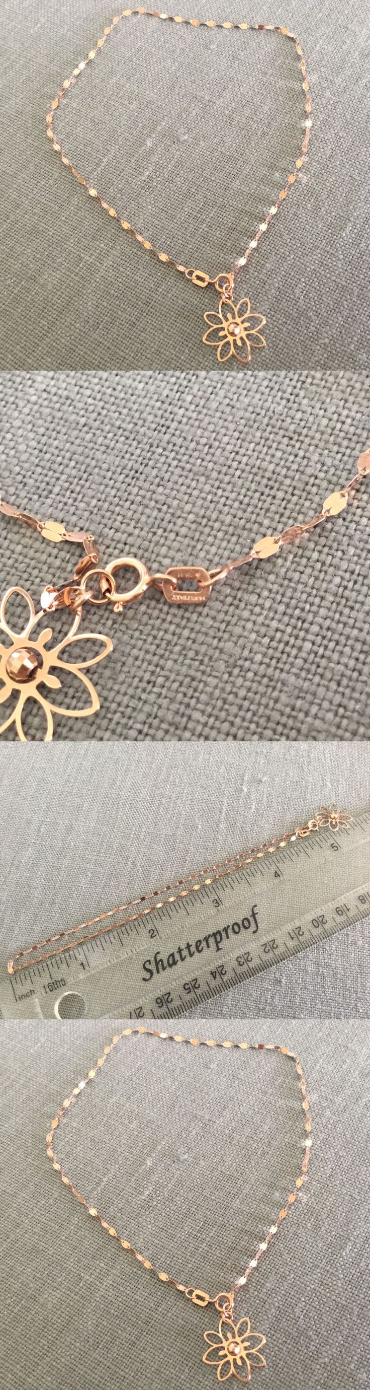 Fine Anklets 101437: 14Kt Anklet Rose Gold Chain Flower Charm Italy Ar?1758 Karat 585 BUY IT NOW ONLY: $99.0