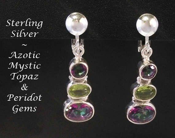Clip On Earrings: Simply Stunning Azotic Mystic Topaz & Peridot Gems on Sterling Silver Clip On Earrings | Gifts for Women, Gift Idea from www.mothersdayaustralia.net.au and https://www.etsy.com/shop/EarringsArtisan #cliponearrings #earrings #silverearrings #clipon #giftsforwomen #mothersday #mothersdaygiftideas #jewelry #jewellery