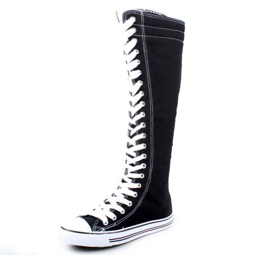 black boots no heel with white laces