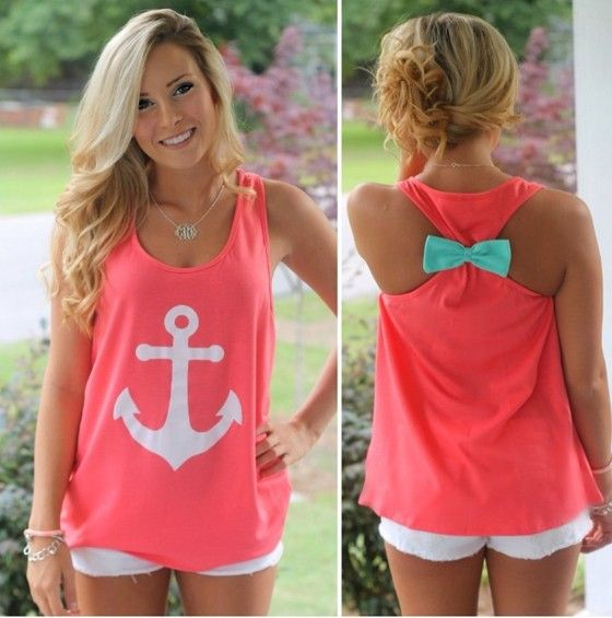 Pink Anchors Print Bow Behind Round Neck Sweet Casual Vest - Vests - Tops